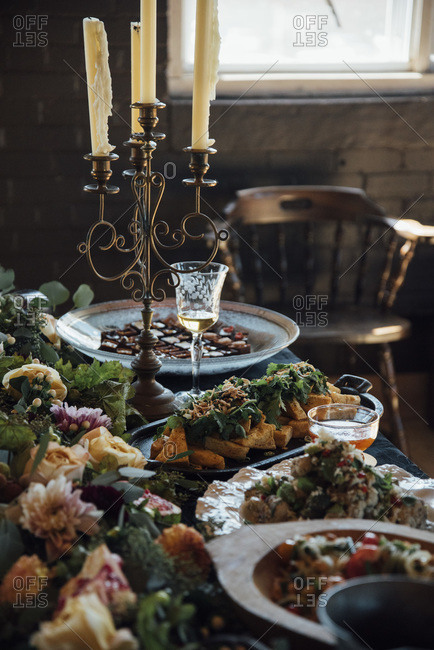 Food displayed on a decorated buffet table