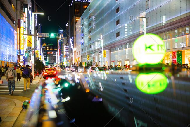 Tokyo, Japan - November 21, 2015: Ginza shopping area at night