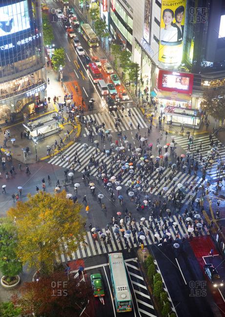 Tokyo, Japan - December 2, 2015: Crosswalks in Shibuya during a rainy night
