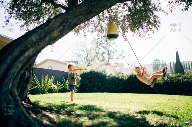 Children playing on a tree swing