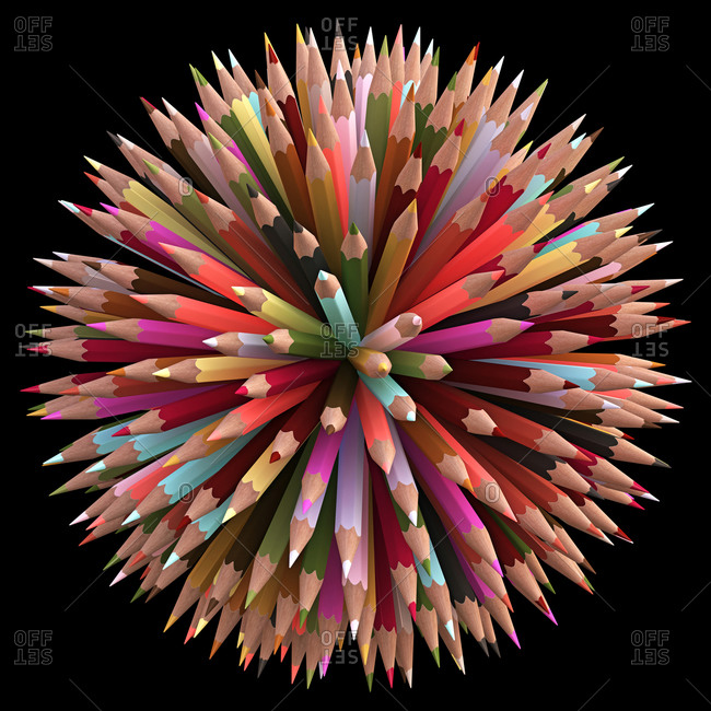 Illustration of colored pencils