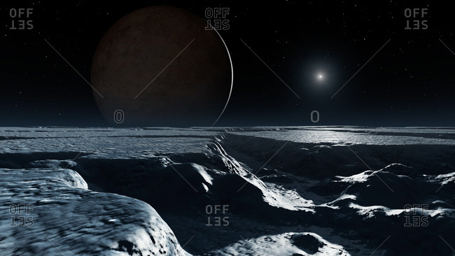 An artist's impression of the dwarf planet Pluto as it might appear from the surface of its biggest natural satellite, Charon