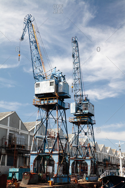 Cranes at the Victoria and Albert Docks, Cape Town, South Africa