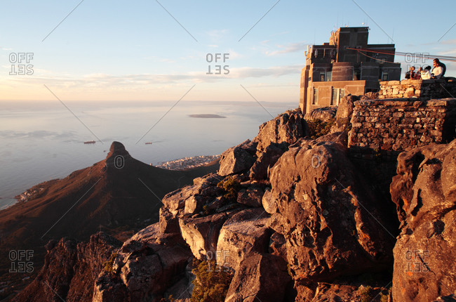 Upper cableway station with Lion's Head and Table Bay in the background, Table Mountain Cableway, Cape Town, South Africa