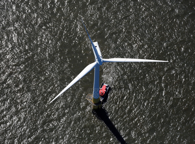 Wind turbine on a wind farm in the North Sea, England