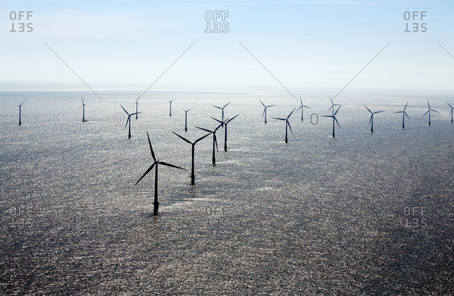 Scroby Sands wind farm in the North Sea, England