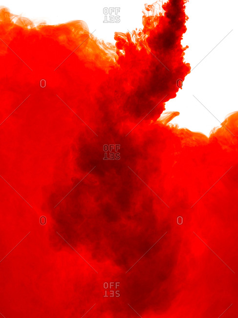 Red liquid against a white background
