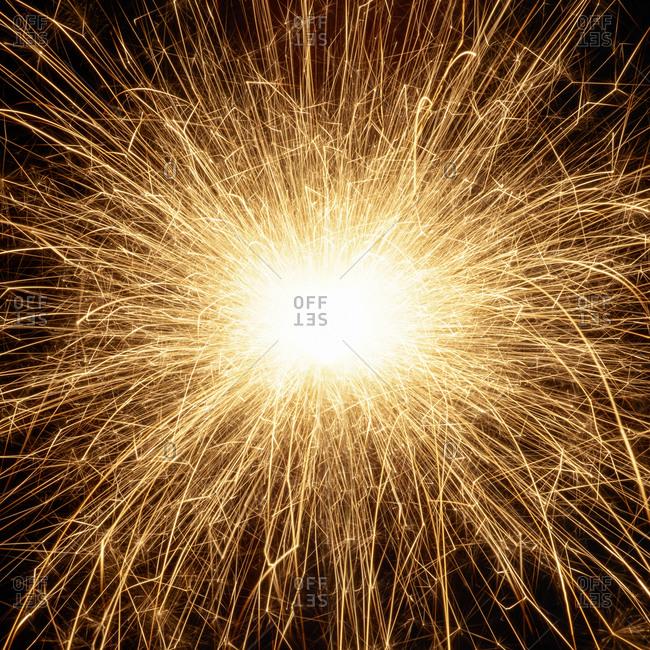 Sparkler and sparks, close up