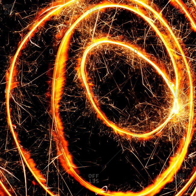 Sparkler making a spiral