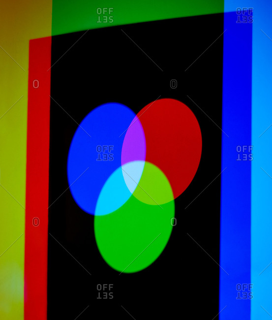 Additive primary colors Three colored lights being shone onto a surface