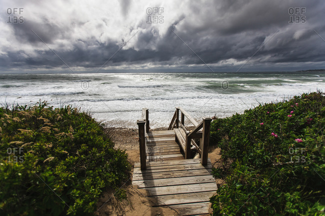 Wooden stairs leading to Crescent Beach, Block Island, Rhode Island, USA