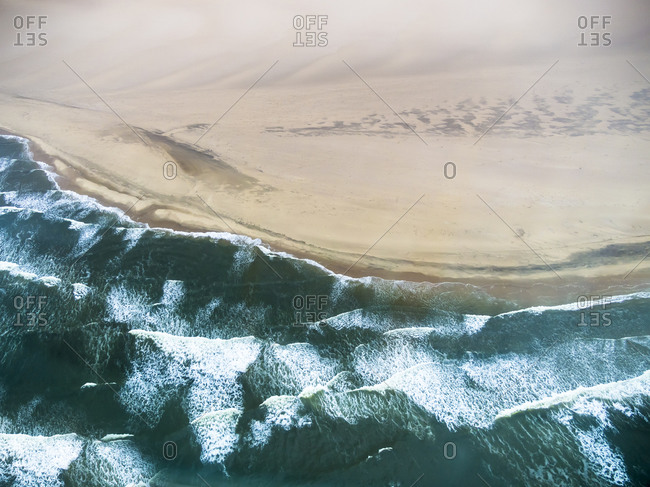 Aerial view of the Atlantic meets Namib Desert
