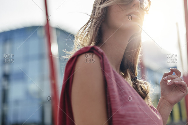 closeup of woman with backlight