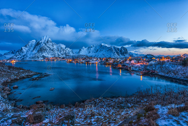 Town of Reine at blue hour