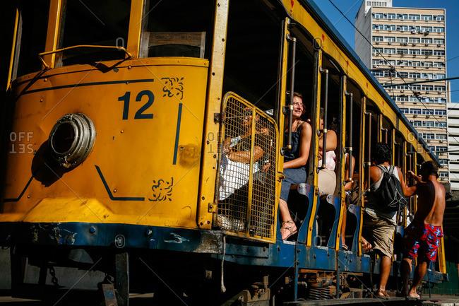 Rio de Janeiro, Brazil - February 17, 2010: The Bonde (Trolley) at Santa Teresa, Rio de Janeiro, Brazil