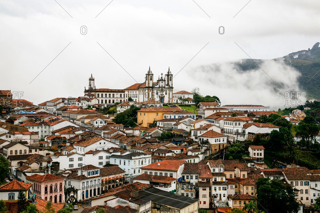 A view over the town of Ouro Preto from near the church of Sao Francisco de Paula, Brazil