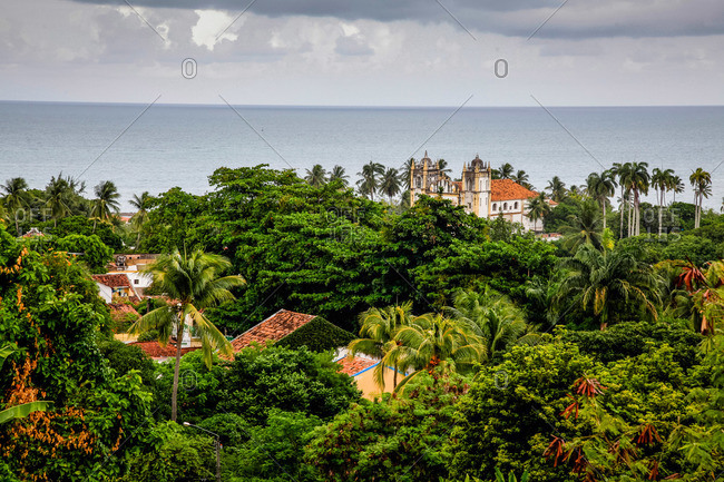View over the old town of Olinda from Praca do Se, Olinda, Pernambuco, Brazil