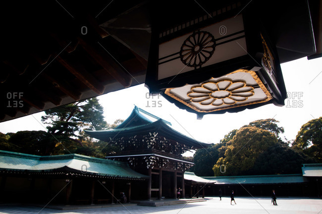 Shibuya, Tokyo - April 19, 2011: Entrance gates of the Meiji Jingu Shrine