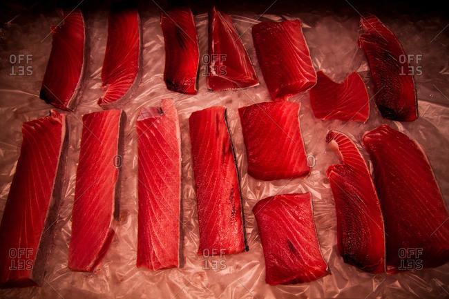 Slices of fresh fish