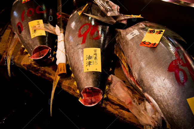 Gutted fish at an Asian fish market