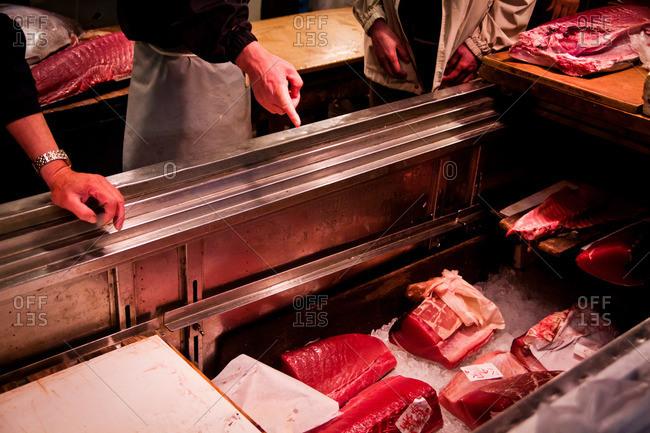 Fish chilling on ice at the Tsukiji Market