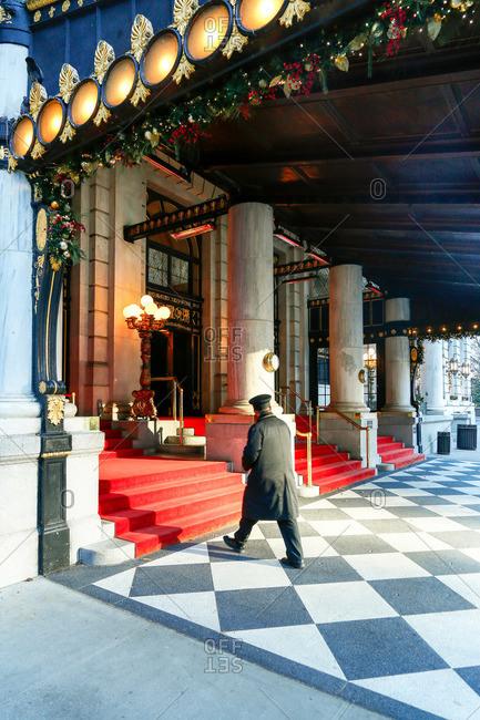 Doorman walking to Manhattan hotel