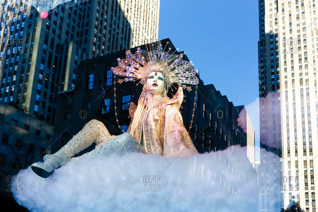 New York, NY, USA - December 16, 2015: Mannequin in festive window display