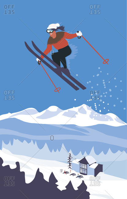 Skier in mid-air above mountains and a cabin