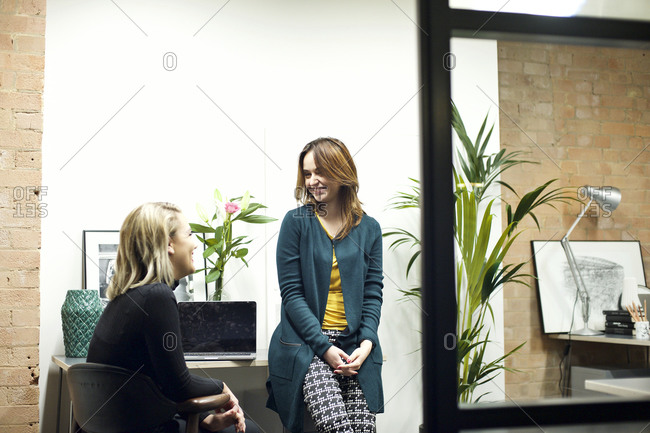 Young business women having a conversation in an office