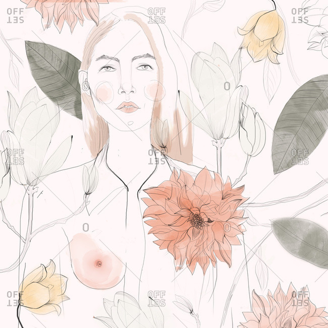Portrait of woman surrounded by a pattern of flowers