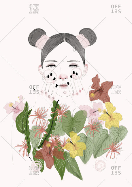 Woman rubbing her cheeks behind a wall of flowers