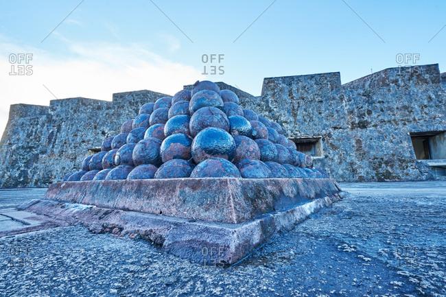 Old canon balls at Castillo de San Cristoball in San Juan, Puerto Rico