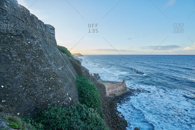 View of coastline along Castillo de San Cristobal in San Juan, Puerto Rico