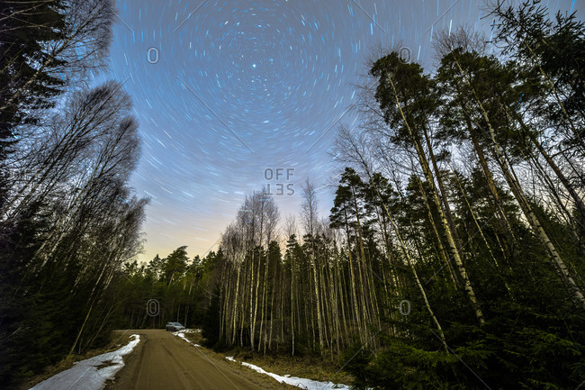 Forest road under starry sky, Ostergotland