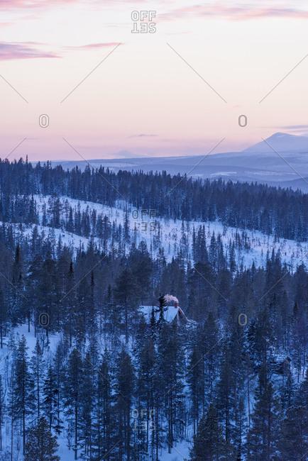Winter landscape at sunset, Harjedalen
