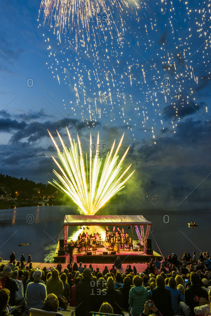 Molndal, Sweden - August 29, 2015: People watching concert and fireworks display