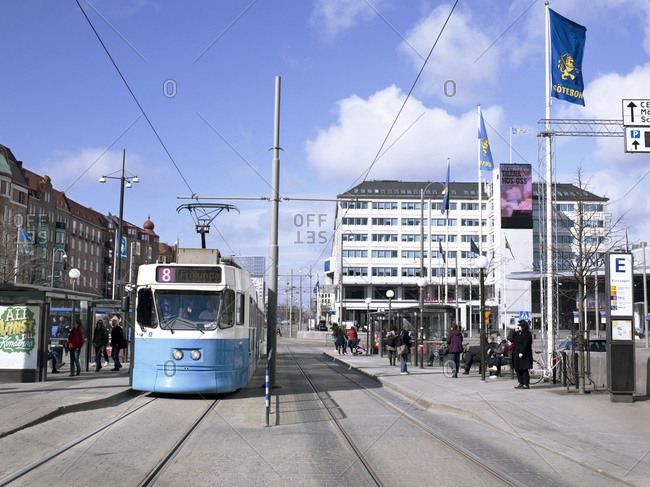 Gothenburg, Sweden - June 27, 2008: Trams in city of Gothenburg