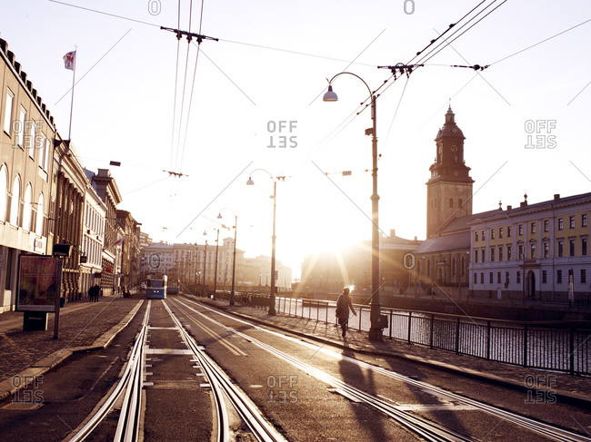 Street with tram tracks in city, Gothenburg