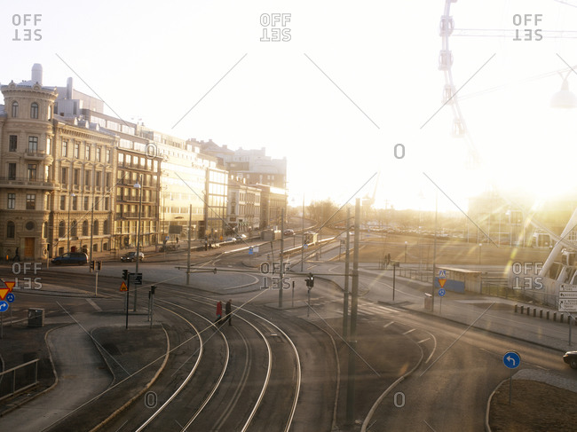 Tram tracks in city of Gothenburg