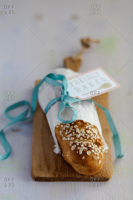 Bread loaf with gift wrapping