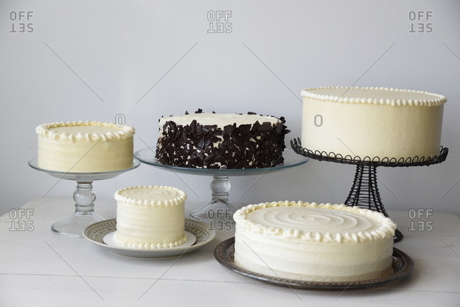 Still life of five beautiful cakes