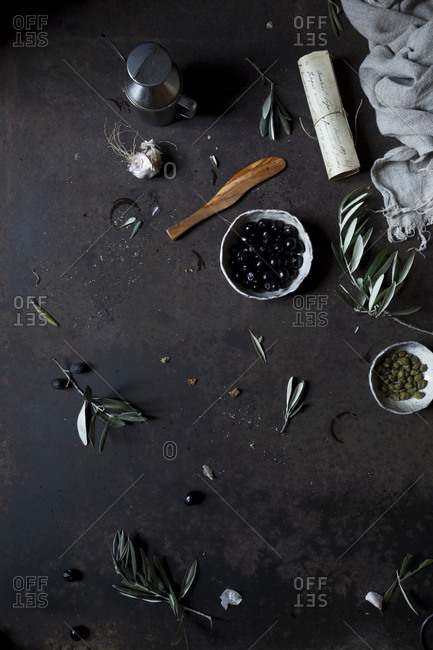Ingredients for olive tapenade
