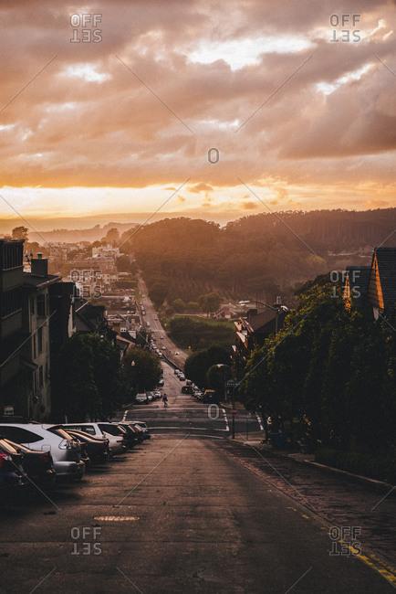 Coastal road at sunset, San Francisco