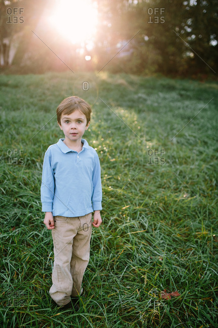 Portrait of a handsome young boy in a grassy field at dusk