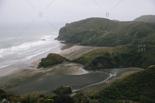 Verdant hills along a coast