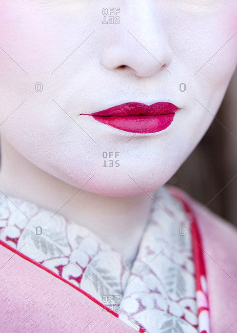 Close-up of the lips of a geisha in Kyoto, Japan