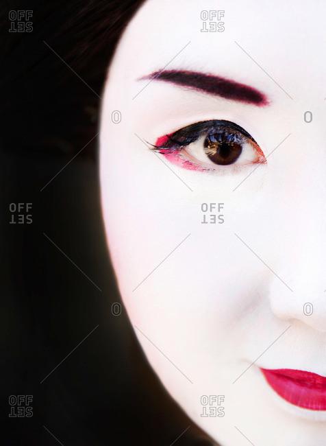 Kyoto, Japan - November 29, 2015: Close-up portrait of a geisha