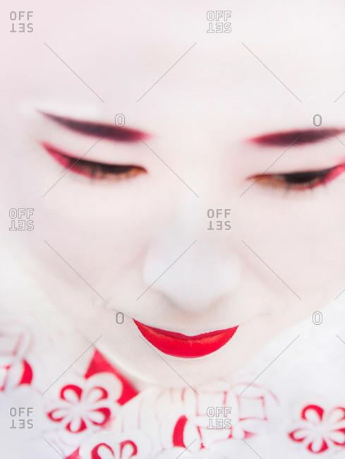 Kyoto, Japan - November 29, 2015: Portrait of a geisha in Kyoto, Japan
