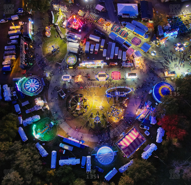 Aerial view of a carnival at night