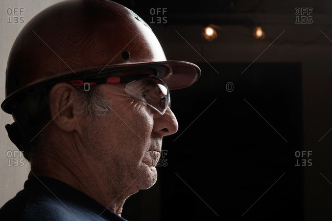 Portrait of a construction worker with hardhat and safety glasses